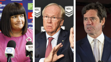 Raelene Castle, Peter Beattie and Gillon McLachlan.