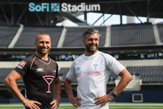 Matt Giteau and Adam Ashley-Cooper at the new $6 billion SoFi Stadium in Los Angeles.