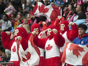 Team Canada fans monkeying around at B.C. Place Stadium during the 2019 HSBC Canada Sevens tourney. Tournament officials have been talking to both Vancouver Coastal Health and stadium officials, laying out possible plans if the tourney is given the official go-ahead for the fall.