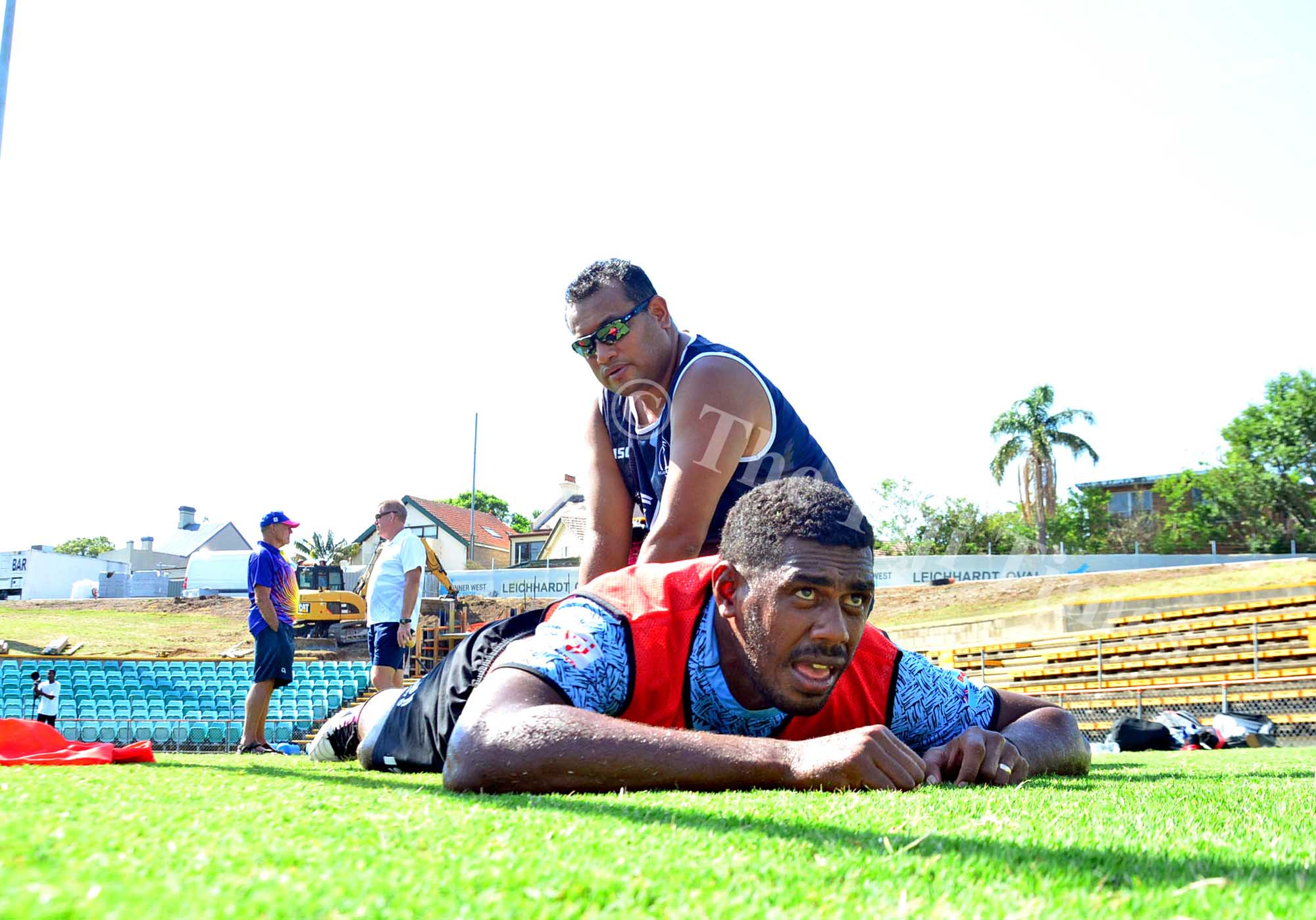 Physio William Kwoong attands to Kalione Nasoko during the Fiji Airways Fiji 7s team training at the Leichhardt Oval ground in Sydney, Australia on Wednesday, January 24, 2018. Picture: JONACANI LALAKOBAU