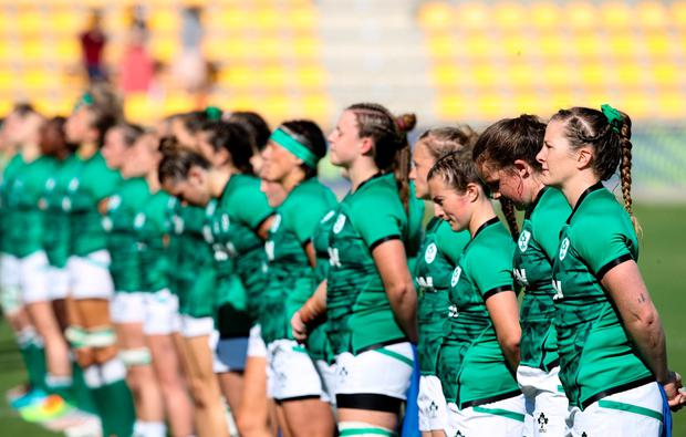 The Ireland team stand for the national anthem during the Rugby World Cup 2022 Europe Qualifying Tournament match against Italy at Stadio Sergio Lanfranchi in Parma. Photo by Roberto Bregani/Sportsfile